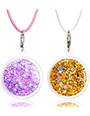2 Packs AirTag Necklace for Kids with Adjustable Stopper, Apple Air Tag TPU Silicone Protective Cover with 22 inch Elastic Skin-Friendly Necklace for Kids, Toddler, Baby, Children Gold and Purple