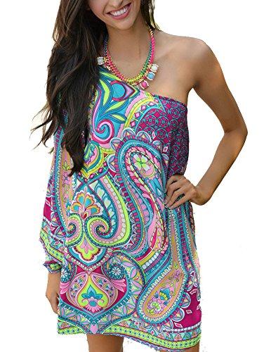 DH APPLE Womens Bohemian One Shoulder Summer Dress