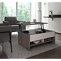 Bestar Small Space Lift-Top Coffee Table in Bark Gray and White