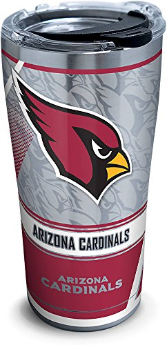 (Tervis 1266708 NFL Arizona Cardinals Edge Stainless Steel Tumbler with Clear and Black Hammer Lid 20oz, Silver)
