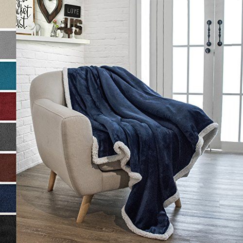 Navy Reversible Fleece - PAVILIA Premium Sherpa Throw Blanket for Couch Sofa | Soft, Cozy, Plush Microfiber Throw | Reversible Flannel Fleece Solid Blanket, All Season Use (Navy Blue, 50 x 60 inches)