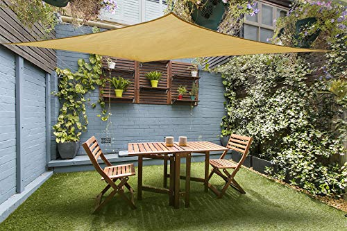 Cool Area Shade sail Rectangle 9 10 x 13 with Hardware, Sand