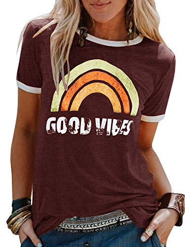 (Umeko Womens Bring On The Sunshine Graphic Tees Letter Printed Casual Loose Summer T-Shirt (X-Large, 2-Burgundy))