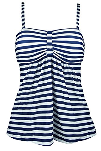 Cocoship Navy Blue & White Vintage Sailor Striped Swim Top Retro Bow Ruched Modest Beachwear Tankinis 6(FBA)