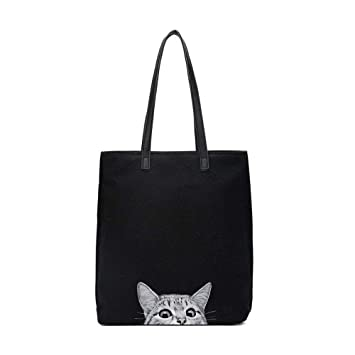 Amazon.com: Women Canvas Handbag Meelife Shoulder Bag Cat Big Tote ...