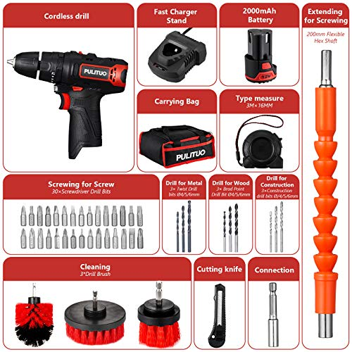 12V Cordless Drill,PULITUO Electric Compact Drill with 3/8