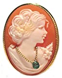 Cameo Brooch and Pendant Italian Sterling Silver Master Carved, Conch Shell, Natural Emerald Necklace