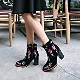 SDKIR-Flowers and birds pattern embroidery retro short boots high heels zipper warm velvet national wind embroidered female boots autumn and winterThirty-sevenBlack Cashmere
