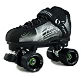 NEW Atom Jackson Rave Indoor Rink and Speed Roller Skate - Available in 8 Vibrant Color Options - Free Devaskation Bracelet - Black/Silver Skate - Black Snap Wheels - Size 7