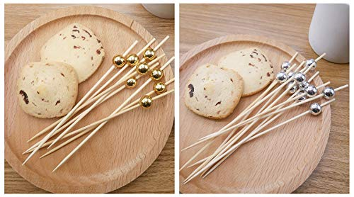 200 Counts Cocktail Picks, MDShun Swizzle Picks for Coffee Drinks Stir Stick Natural Bamboo Skewers for Party Supplies Fruit Sandwiches Appetizers Barbeque Snacks 4.7 Inch(Gold & Sliver)