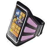 SumacLife Workout Running Armband for Nokia Lumia 1020 Nokia Lumia 920 Nokia Lumia 925 (AT&T ; Sprint ; T-Mobile) (Pink-Mesh)