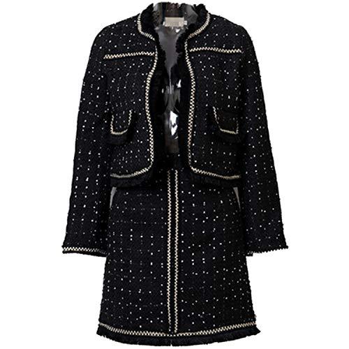 (Winter Runway Suit Women's Black Tassel Jacket Tweed Skirt Woolen Blends Christmas Two Pieces Set,Black,S)