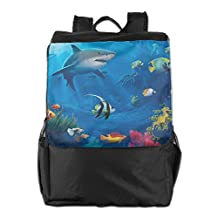 Underwater-World Shark Colorful Fish Outdoor Travel Hiking Backpack Daypacks Casual Camping Climbing Shoulders Bag Unisex
