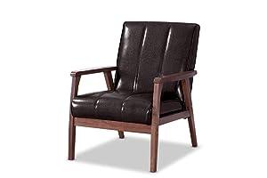 Baxton Furniture Studios Nikko Mid-Century Modern Scandinavian Style Faux Leather Wooden Lounge Chair, Medium, Dark Brown