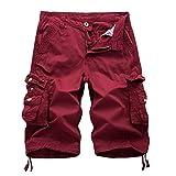 Abetteric Men Plus-Size Pure Colour Pockets Fine Cotton Combat Boardshort Red 29