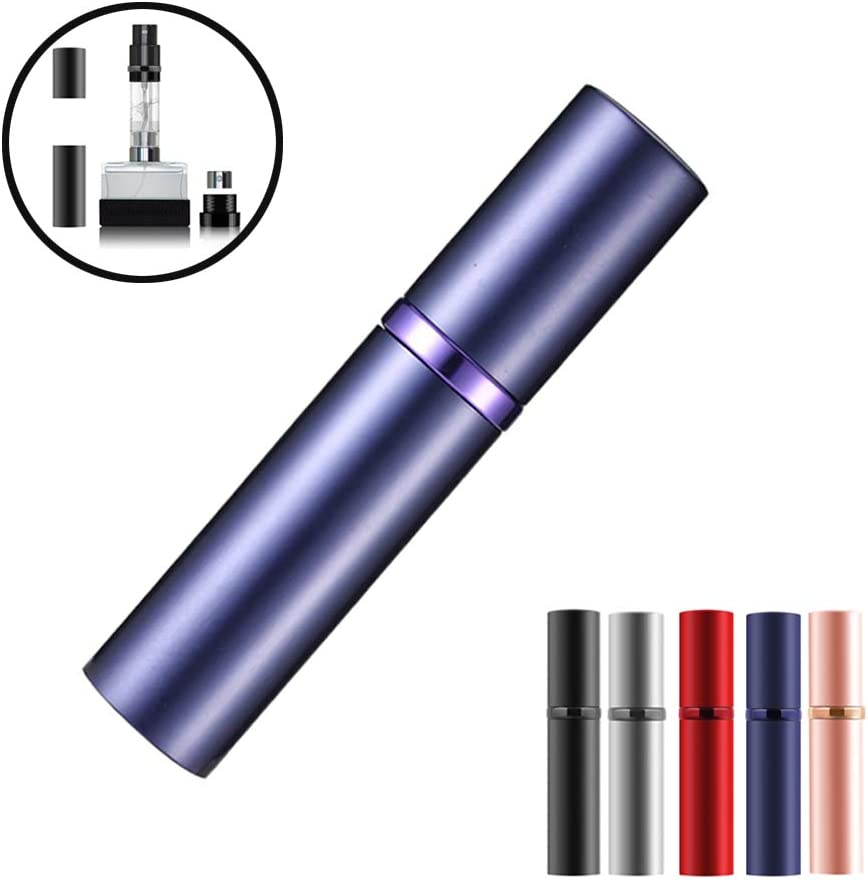SIXTMOON Perfume Atomizer, Refillable & Travel Size Perfume Bottle, Leaking Proof,Bottom Pump without Funnel, Luxurious Small Gift for women and men, 5 ml, Purple
