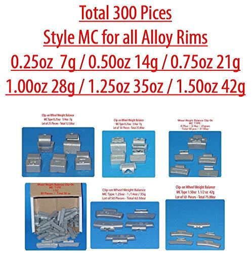 (Assort 300 Pc Clip-on Wheel Weight Balance Type MC 0.25 0.50 0.75 1.0 1.25 1.50z N86260)