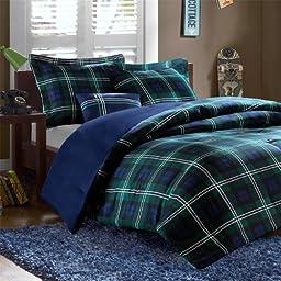 Blue & Green Plaid Boys Full / Queen Comforter, Shams & Toss Pillow (4 Piece Bed In A Bag)