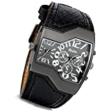 Lancardo Men's Oversize Big Face Rectangle Dual Timezone Snake Leather Watch With Japanese Movement
