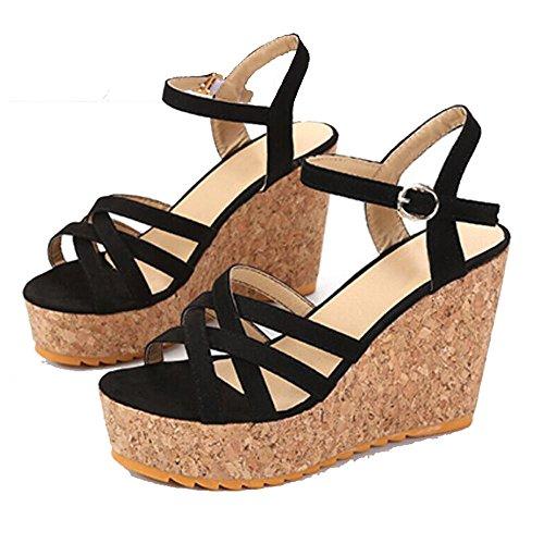 Pendiente con sandalias Verano femenino de tacón alto grueso impermeable Base expuesta Toe Casual Sandalias Black