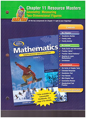- Glencoe Mathematics, Applications and Concepts, Course 2. Chapter 11 Resource Masters.