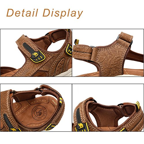 Mens Cowhide Leather Comfort Sport Sandals Outdoor Walking Sandals Beach Waterproof Strap Open Toe Shoes for Men,Dark Brown,250mm by Camel (Image #2)