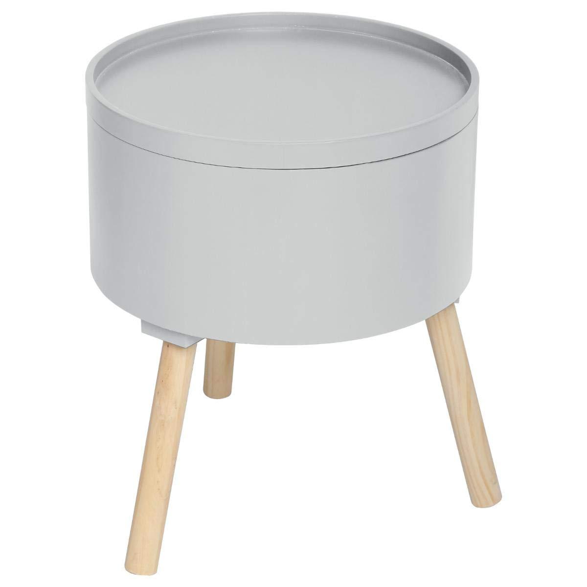 Atmosphera 2 in 1 Tavolino + Contenitore - Stile scandinavo - Colore GRIGIO