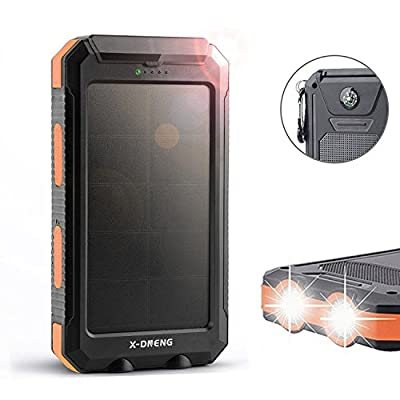 Solar Charger, X-DNENG 10000mAh High Efficiency SunPower Solar Panel Portable Power Bank External Backup Battery Pack with Dual USB LED Light Compass for iPad,iPhone,Android,Samsung,Tablet and More