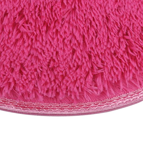 Floor Mat by Vibola 40/40CM Thickened Circular Carpet Mats Dining Room Bedroom Carpet (Hot Pink) by Vibola® (Image #3)