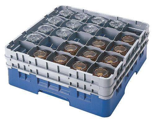 Cambro Key - Cambro - CA25S738151-19-3/4 x 19-3/4 x 8-7/8 Polypropylene Closed Glass Rack System with 25 Compartments, Gray
