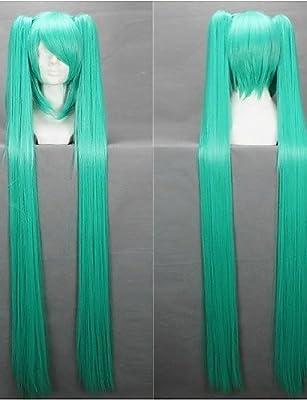 Pelucas Pelo europeo larga recta pelucas 120 cm Light Blue ...
