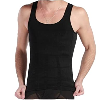 0f3b3b350bf5e Men s Slimming Body Shaper Slim Vest Tank Abdomen Muscle Compression  Shapewear (Small