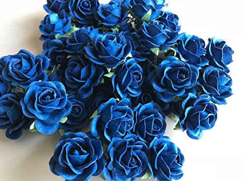 25 pcs Blue Rose Color Mulberry Paper Flower 30mm Scrapbooking Wedding Doll House Supplies Card by Thai Decorated