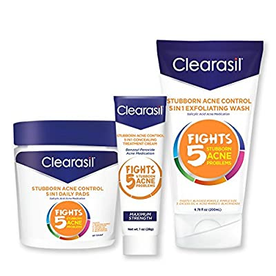 Clearasil Stubborn Acne Control Kit With 5in1 Daily Facial Cleansing Pads 90 ct, Exfoliating Wash 6.78 oz & Spot Treatment Cream 1 oz - 1 ea