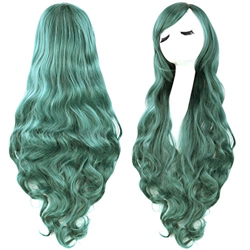 [Rbenxia Curly Cosplay Wig Long Hair Heat Resistant Spiral Costume Wigs Green 32