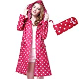 Rain Coat,Waterproof Raincoat,Portable Rain Poncho,Women Polka Dot With Pockets-Suitable for People Under 160 Pounds