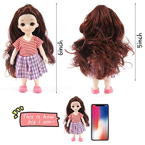 Body Fashion Dolls, 4PCS 6inch Mini Doll with Clothes Shoes Costume, Miniature Doll Playsets for Girls, Birthday Party Favors