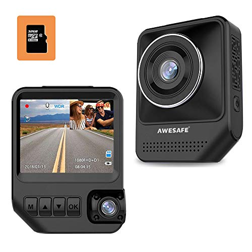 AWESAFE Dual Dash Cam for Cars Front and Inside Dash Cam with 1920X1080P 170°Wide Angle,Night Vision,Sony Sensor,Parking Monitor,Motion Detection for Uber,Taix(32GB Card Included) (Best Way To Get Wifi In Car)