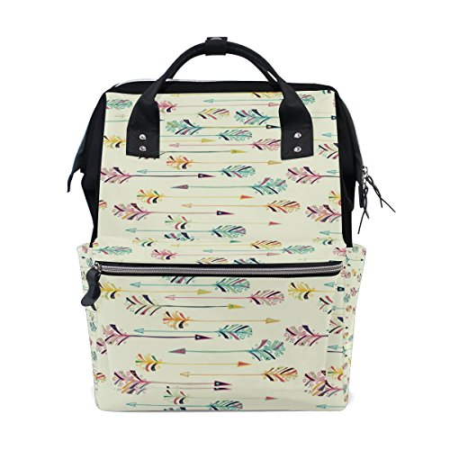 ALIREA Feather Arrow Pattern Diaper Bag Backpack, Large Capa