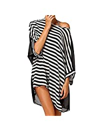215e1a77be2f2 Hemore Women Striped Swimsuit Cover Up Dress Casual Beach Swimwear Dress  Stylish Bikini Top Coverup