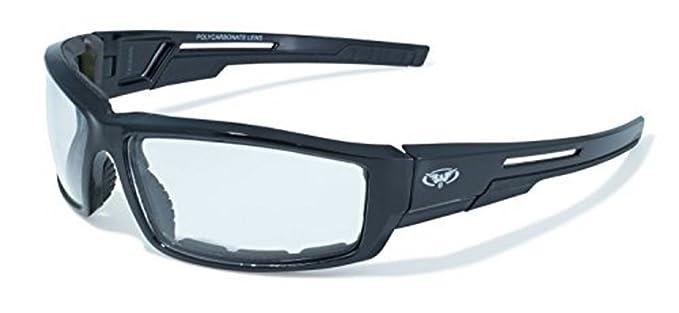 ac7105e1d08 Amazon.com  Clear Lens Motorcycle Padded Glasses Sunglasses ATV Quad Moped   Clothing