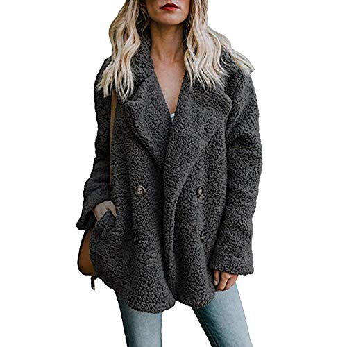 Womens Lapel Faux Shearling Coat Jacket Parka Button Up Overcoat Plush Open Front Coat Outwear (Fur Front Jacket Button)