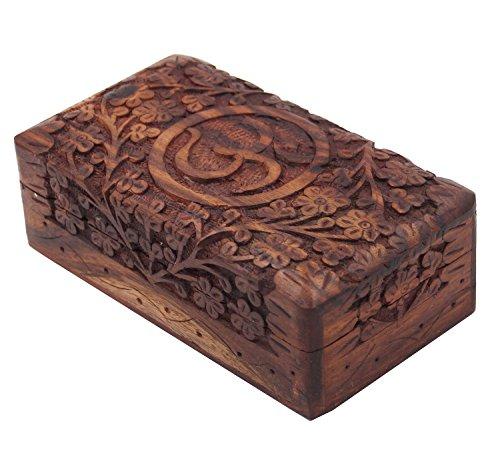 Decor Box (Wooden Storage Box ~ Hand Carved Hindu OM / AUM ~ 4