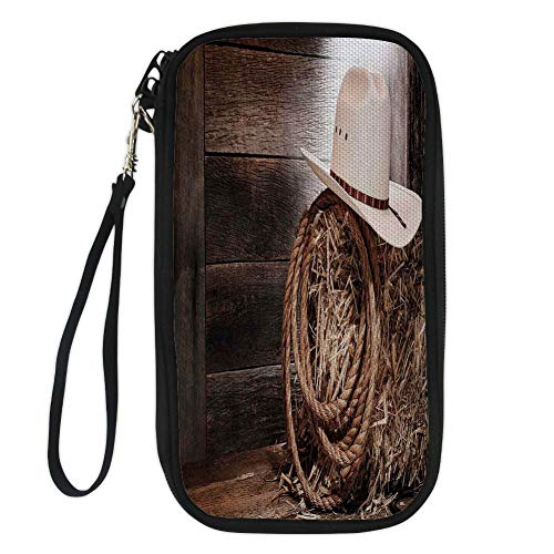 iPrint Western,American West Rodeo Hat with Traditional Ranching Robe on Wooden Ground Folk Art Photo Decorative,Brown Beige for Women Canvas Document Organizer Clutch
