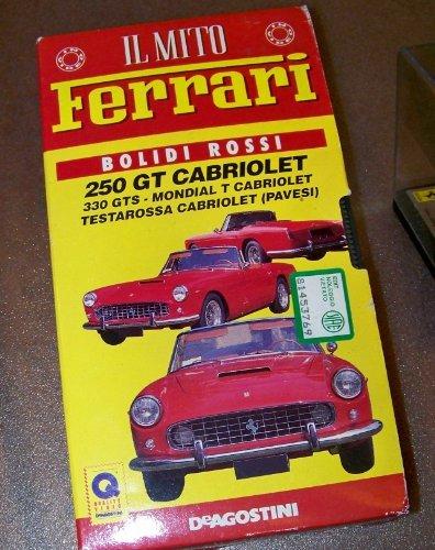 IL Mito Ferrari Bolidi Rossi ~ 250 GT Cabriolet & 330 GTS Mondial & Testarossa VHS Video Italian BONUS Model Ferrari Car Metal Display Case
