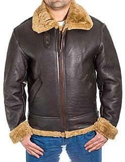 7c3f2c51f A to Z Leather para Hombre de Brown Aviador B3 Piel de Oveja Chaqueta de  piloto WW2 del Vuelo…