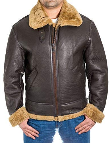 e7f9542ed80a2 A to Z Leather para Hombre de Brown Aviador B3 Piel de Oveja Chaqueta de  piloto WW2 del Vuelo con la Piel de Jengibre  Amazon.es  Ropa y accesorios