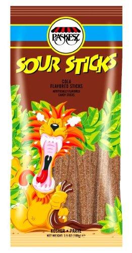 Paskez Sour Sticks Cola Flavored 3.5 Oz - Pack F 6