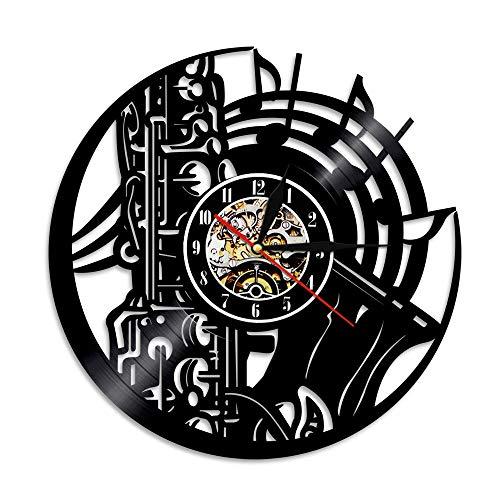 - Vinyl Record Wall Clock Family Decoration Saxophone Silhouette Handmade Gift Clock Family Life Room Decoration Clock 12 Inches NO LED