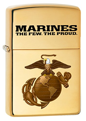 Zippo USMC Logo High Polish Brass Armor Pocket Lighter